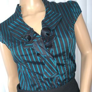 Express XS Career Ruffle Blouse Teal Black Fitted